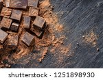 pieces of dark bitter chocolate ... | Shutterstock . vector #1251898930