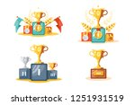 pedestal with gold cup and... | Shutterstock .eps vector #1251931519