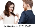 pretty woman looks slily at her ... | Shutterstock . vector #125193629