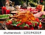 christmas turkey dinner. baked... | Shutterstock . vector #1251942019