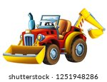 cartoon farm tractor excavator  ... | Shutterstock . vector #1251948286