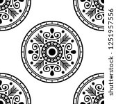 mandala pattern black and white.... | Shutterstock . vector #1251957556