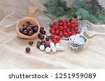 cranberries with sugar and... | Shutterstock . vector #1251959089