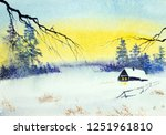 Bright Winter Sunset And Fores...