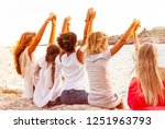 friends holding hands and... | Shutterstock . vector #1251963793