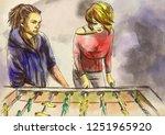table soccer   an hand drawn... | Shutterstock . vector #1251965920