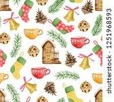 seamless pattern with winter...   Shutterstock . vector #1251968593