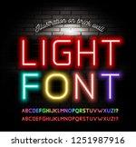 light neon fonts on brick wall... | Shutterstock .eps vector #1251987916