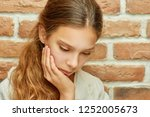 girl teenager with long hair... | Shutterstock . vector #1252005673