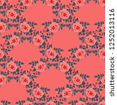 floral pattern with one stroke... | Shutterstock .eps vector #1252013116