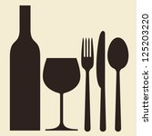 bottle  wineglass and cutlery | Shutterstock .eps vector #125203220