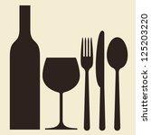 bottle  wineglass and cutlery | Shutterstock .eps vector #125203220
