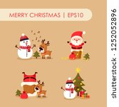 santa claus with deer and... | Shutterstock .eps vector #1252052896