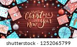 merry christmas poster. craft... | Shutterstock .eps vector #1252065799