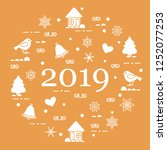happy new year 2019 card.... | Shutterstock .eps vector #1252077253