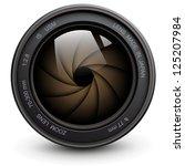 camera photo lens with shutter.   Shutterstock .eps vector #125207984