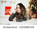 portrait of a girl on the... | Shutterstock . vector #1252085143