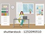 woman doctor in uniform sitting ... | Shutterstock . vector #1252090510