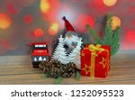 christmas ornaments on abstract ...   Shutterstock . vector #1252095523