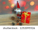 christmas ornaments on abstract ...   Shutterstock . vector #1252095526