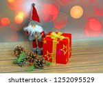 christmas ornaments on abstract ...   Shutterstock . vector #1252095529