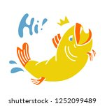 happy fish jumping and smiling. ... | Shutterstock .eps vector #1252099489
