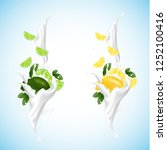 lemon and lime splashing set... | Shutterstock .eps vector #1252100416