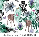 cute giraffes  colorful deer... | Shutterstock .eps vector #1252101550