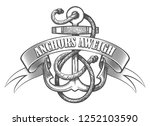 nautical anchor in ropes and... | Shutterstock .eps vector #1252103590