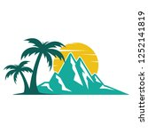 beautiful mountains palm... | Shutterstock .eps vector #1252141819