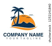 template for logo. san  sea and ... | Shutterstock .eps vector #1252141840
