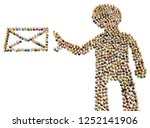 crowd of small symbolic figures ...   Shutterstock . vector #1252141906