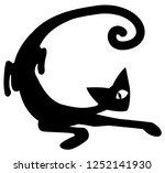 curve cat cartoon stencil black ...   Shutterstock .eps vector #1252141930