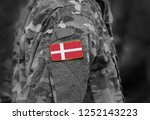 flag of denmark on soldiers arm.... | Shutterstock . vector #1252143223
