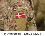 flag of denmark on soldiers arm.... | Shutterstock . vector #1252143226