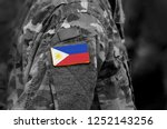 flag of philippines on soldier... | Shutterstock . vector #1252143256