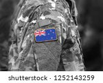 flag of new zealand on soldier... | Shutterstock . vector #1252143259
