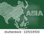 scribble sketch of asia map on... | Shutterstock .eps vector #125214533