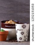 coffee and with muesli  for... | Shutterstock . vector #1252151053