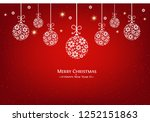 christmas baubles and snow with ... | Shutterstock .eps vector #1252151863