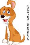 funny puppy cartoon | Shutterstock . vector #125215424