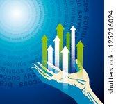 human hand push the business... | Shutterstock .eps vector #125216024