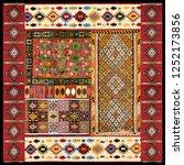 ethnic kilim scarf design | Shutterstock . vector #1252173856