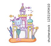 cute purrmaid with castle...   Shutterstock .eps vector #1252193410