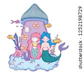 couple mermaids with castle... | Shutterstock .eps vector #1252198729