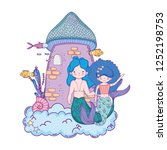 couple mermaids with castle... | Shutterstock .eps vector #1252198753