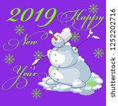 snowman wishes happy new year... | Shutterstock .eps vector #1252202716