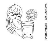 Little Girl With Milk And Donut ...