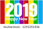 2019 happy new year for... | Shutterstock .eps vector #1252251436