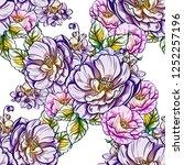 flower print in bright colors.... | Shutterstock .eps vector #1252257196